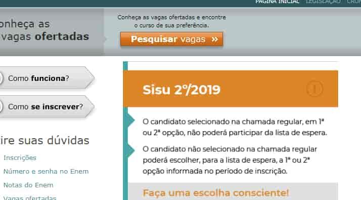 página sisu.mec.gov.br