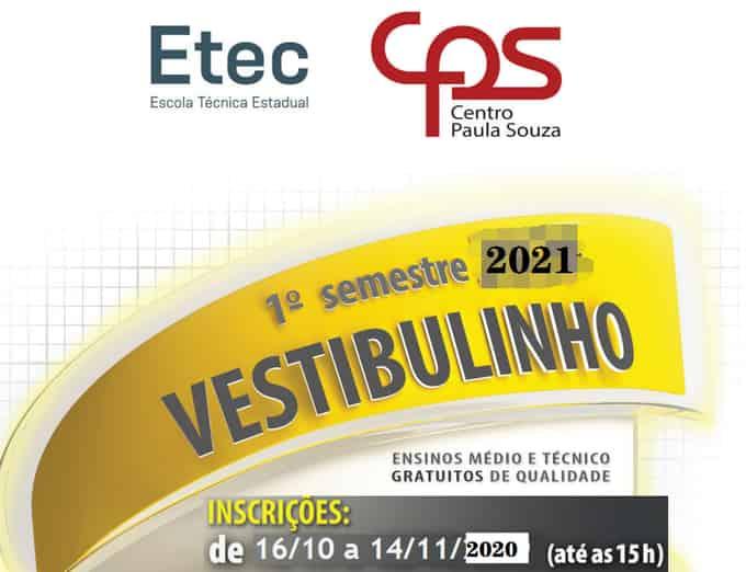 inscrição vestibulinho etec sp 2021