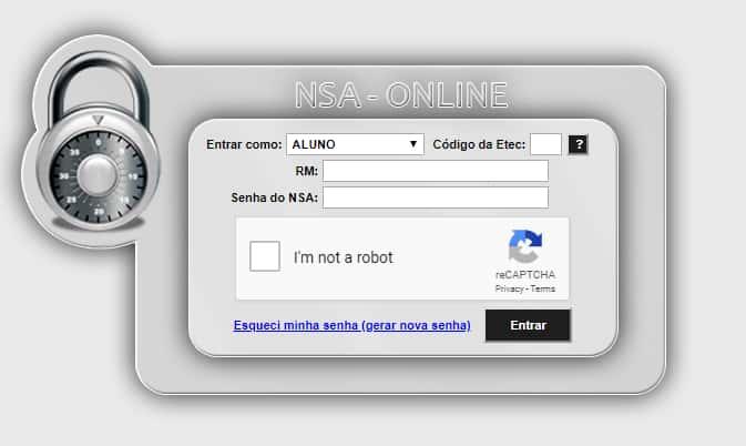 acessar nsa etec Pela internet, por meio do site