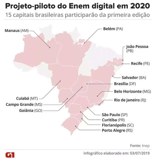 capitais que usarão Enem digital em 2021