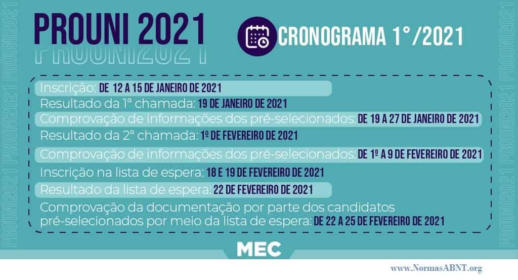 cronograma para prouni 2021 primeiro semestre
