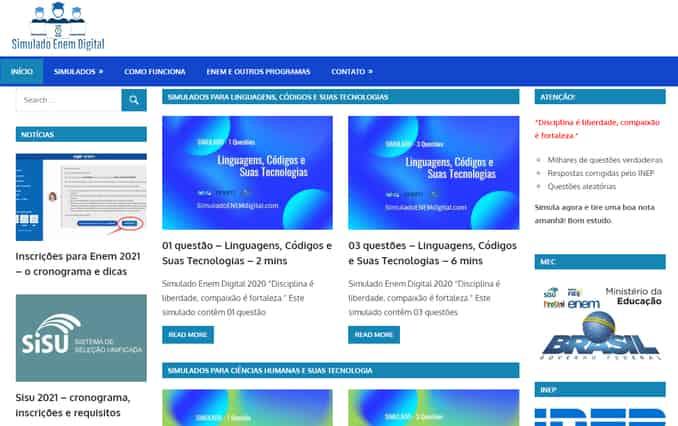 o site de simulado gratuito