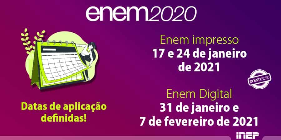 datas para enem 2021