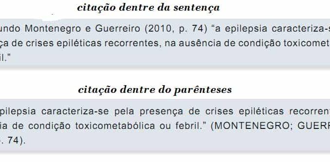Citações dentre da sentença