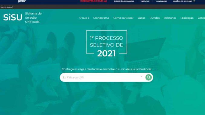 Inscrição Sisu 2022 na página sisu mec
