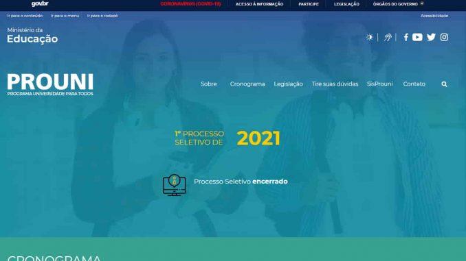site para Prouni 2022 mec
