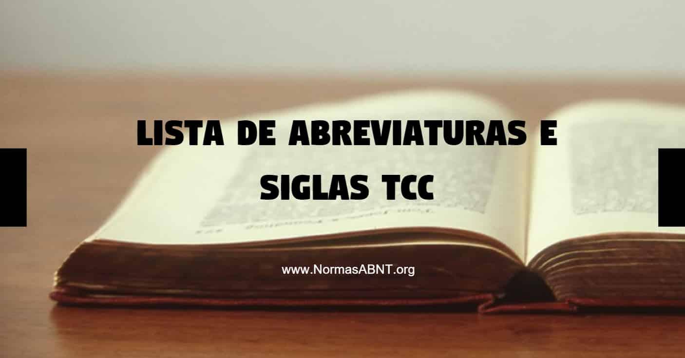Lista de abreviaturas e siglas TCC: como fazer e ABNT