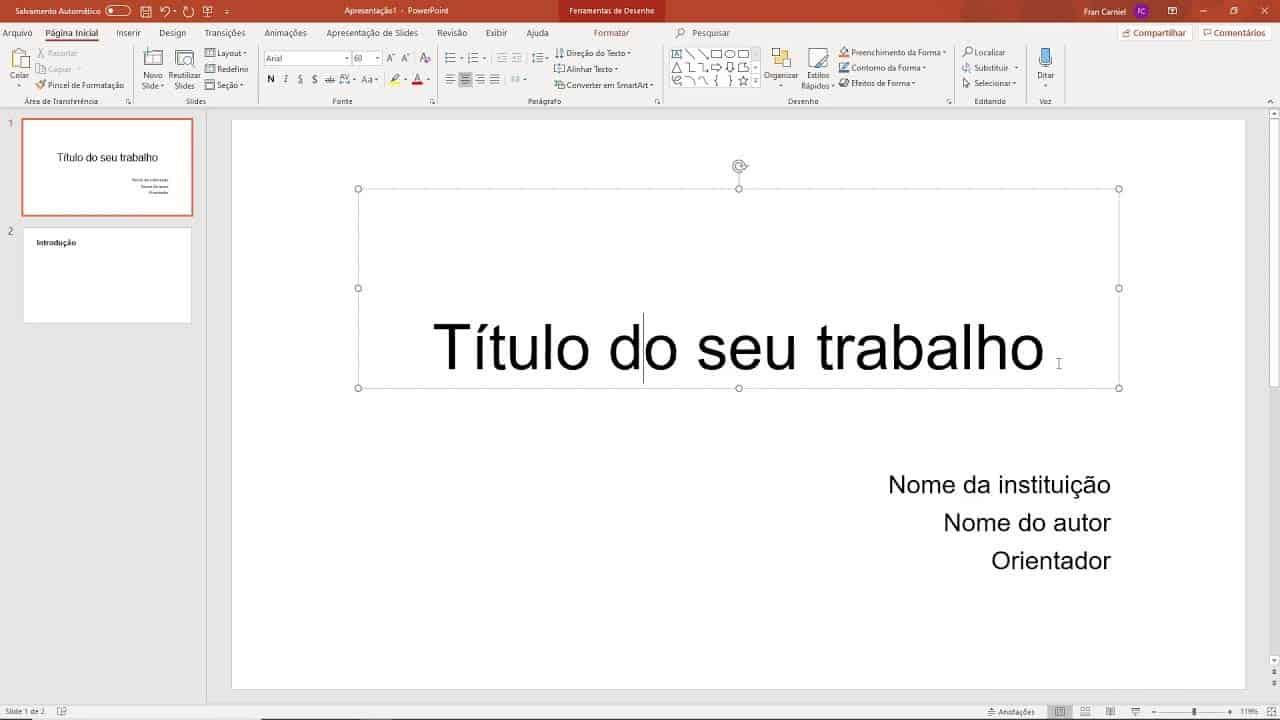 capa da apresentação de slides